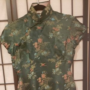 Women VTG Green mid length Chinese Dress